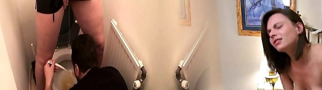 Femdom gals abase slaves at the toilet