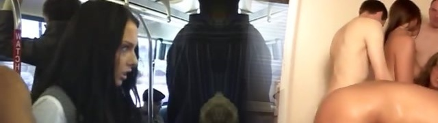 Dark Haired babe is groped then squirts on a Japanese bus