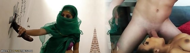 Nadia Ali having fun with ebony man sausage in a gloryhole