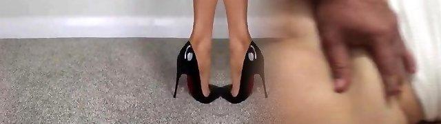FEMDOM Nude FEET IN HIGH High-heeled Slippers - saf