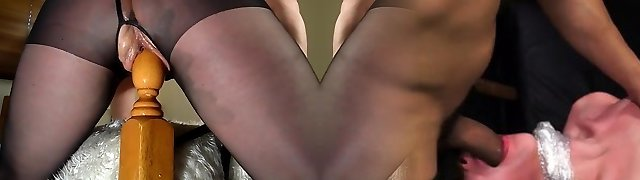 Fledgling milf rides her bedpost - multiple pumping out orgasms