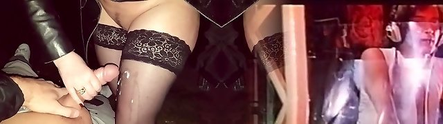 54 y.o. mature hand-job and cum on her black tights