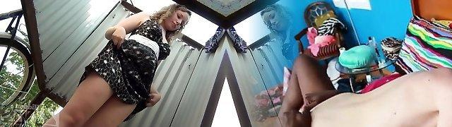 Amateur chick undresses in front of the voyeur webcam