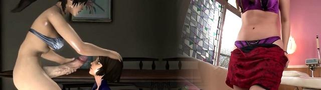 Three Dimensional she-creature anime Lara Croft sucking bigcock and facial
