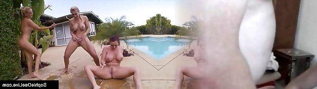 Wet Damsels Sophie Dee Tanya Tate & Sandy Gargle Puss In Pool!