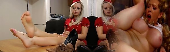 pretty platinum-blonde with hot gams and feet
