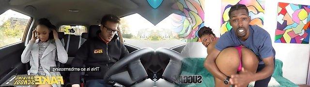 Fake Driving School 18yr dark-hued teen crammed up by her teacher