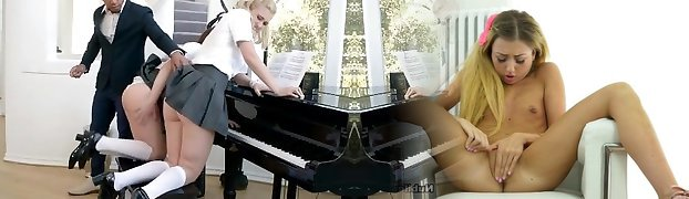 Piano Lesson For Two Nubiles Turns Into Threesome - Brazzers