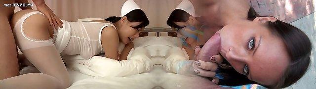 pantyhose nurse in white tights