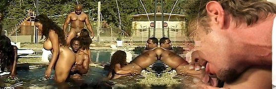 Assfuck and vaginal party at the pool