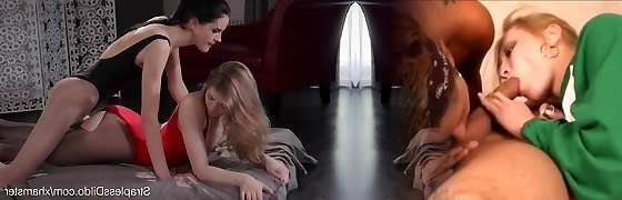 Lesbo Doll in Pantyhose and Leotard Strapon Fucks her GF