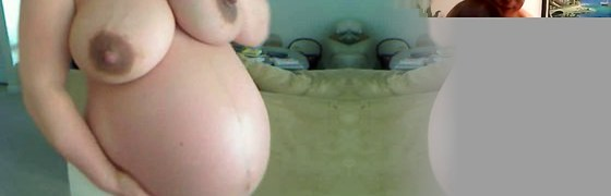 Unexperienced pregnant lady yam-sized belly and dripping breasts