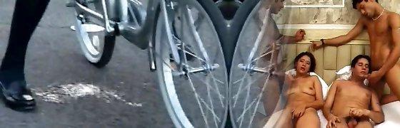 Schoolgirl Sprays on a Bike in Public!